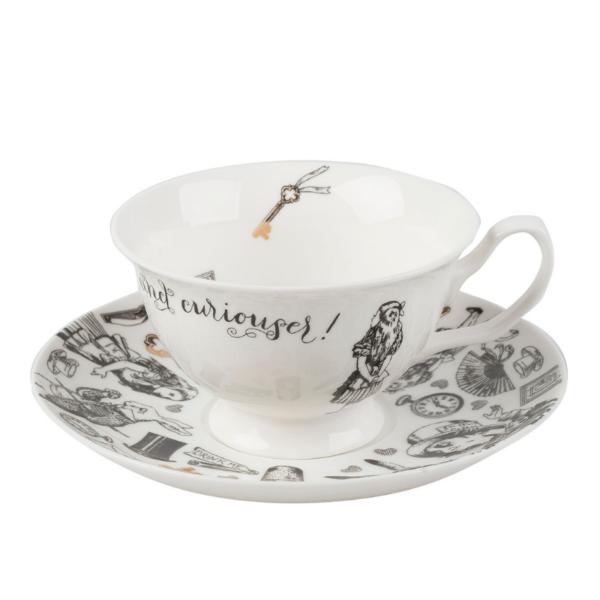 Taza y plato de café Alice in Wonderland