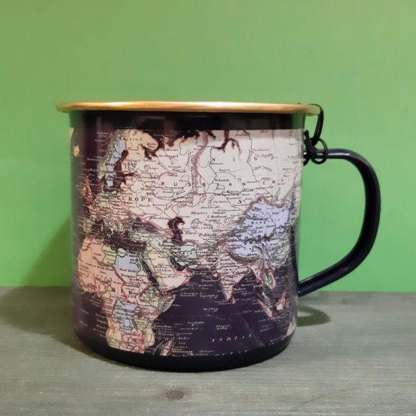 Mug Enamel Mapas Blue