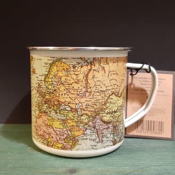 Mug Enamel Mapas White